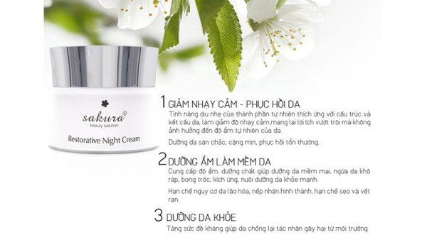 Kem Duong Da Ban Dem Sakura Restorative Night Cream 30g